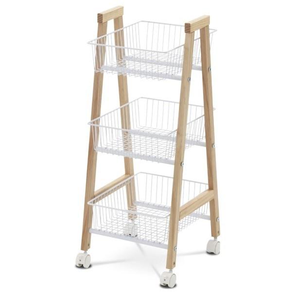 Regál TYLER kov/bambus/bílá 1