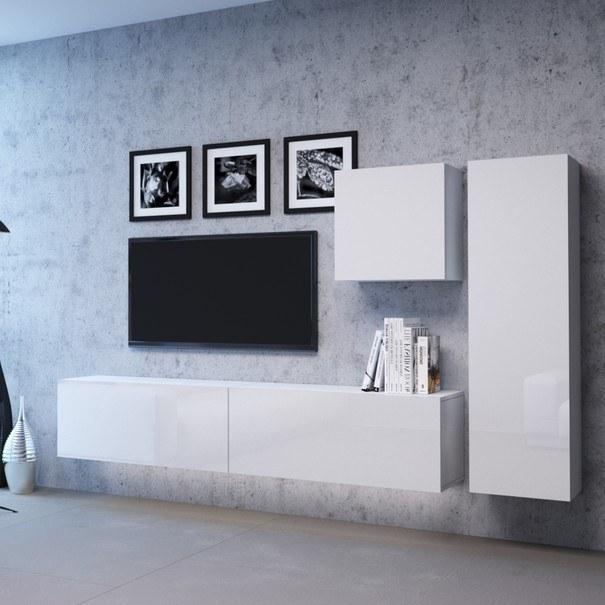 TV komoda VIVO VI 1 LED 100 cm, bílá vysoký lesk 4