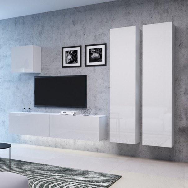 TV komoda VIVO VI 1 LED 100 cm, bílá vysoký lesk 5