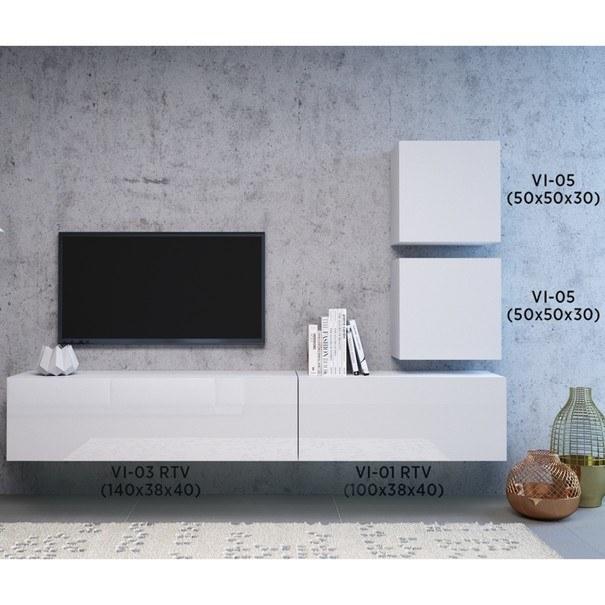 TV komoda  VIVO VI 1 100cm, bílá, vysoký lesk 6