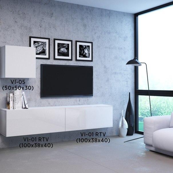 TV komoda  VIVO VI 1 100cm, bílá, vysoký lesk 7