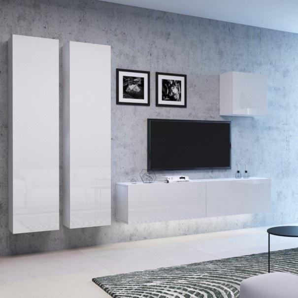 TV komoda VIVO VI 2 LED 120 cm, bílá vysoký lesk 3