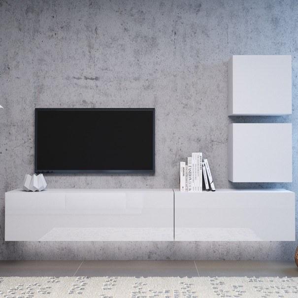 TV komoda VIVO VI 2 LED 120 cm, bílá vysoký lesk 6