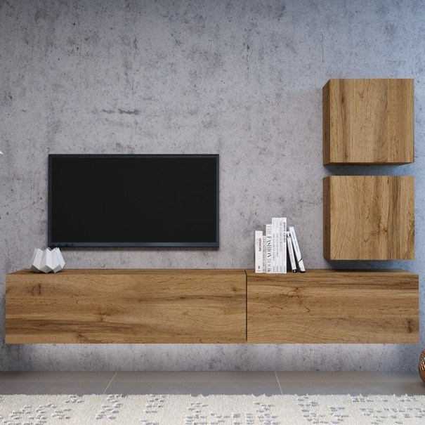 TV komoda VIVO VI 3 LED 140 cm, dub wotan 6
