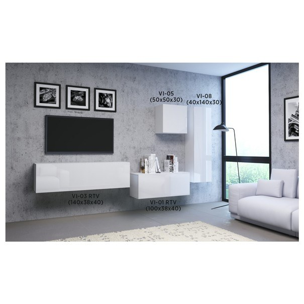 TV komoda VIVO VI 3 140 cm, bílá vysoký lesk 3