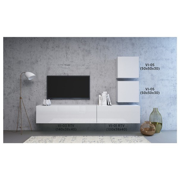 TV komoda VIVO VI 3 140 cm, bílá vysoký lesk 4