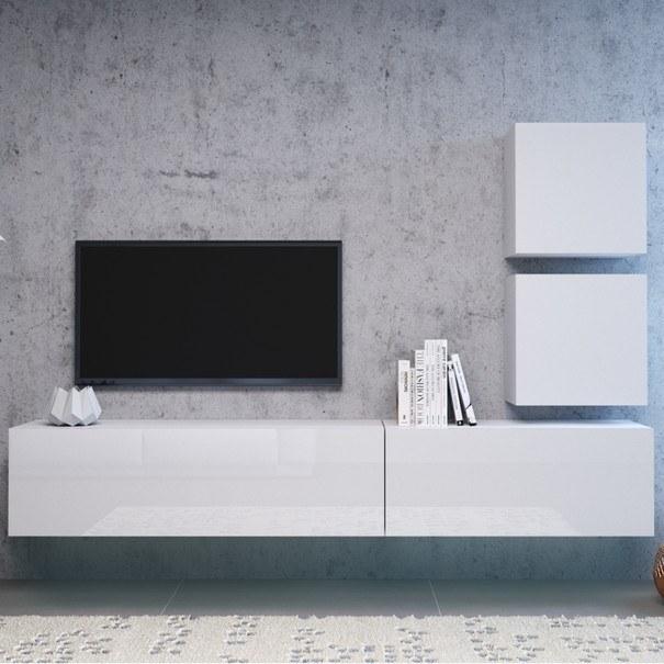 TV komoda VIVO VI 4 180 cm, bílá vysoký lesk 4