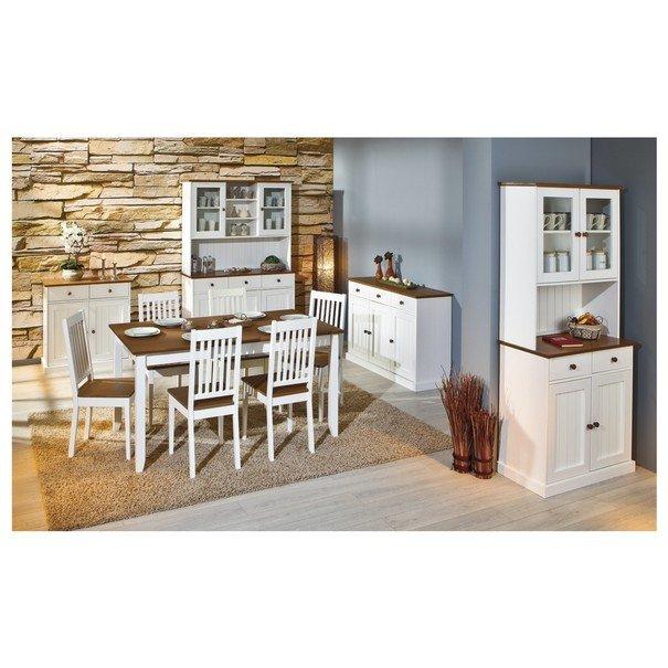 Jídelní stůl WESLEY borovice bílá/hnědá 2