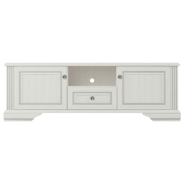 TV stolek WHITE dekor sněžný jasan/šedá 1
