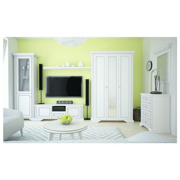 TV stolík WHITE dekor jaseň snežný/sivá 2