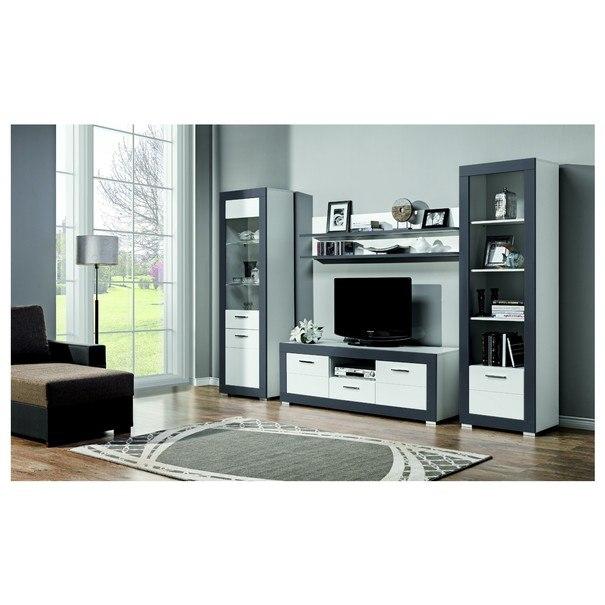 TV stolek WHITNEY GR1 bílá/šedá 2