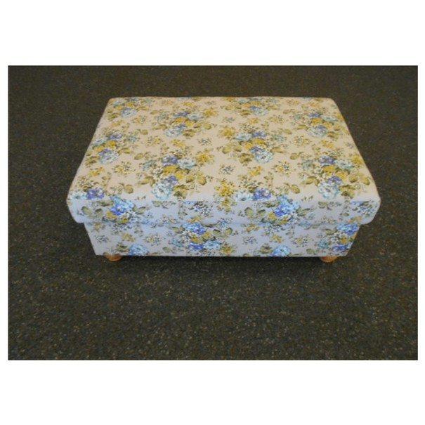 Taburet WOODY modrožltý kvetinový vzor 1