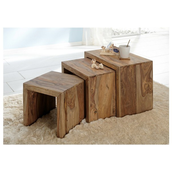 Přístavné stolky - set 3 ks YOGA  palisandr 2