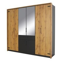 Šatní skříň ADDISON dub wotan/ šedá, 8 dveří, 2 zrcadla, 1 zásuvka 1