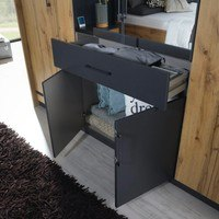Šatní skříň ADDISON dub wotan/ šedá, 8 dveří, 2 zrcadla, 1 zásuvka 3