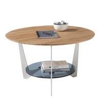 Konferenční stolek ALGAIDA dub/stříbrná/sklo 5