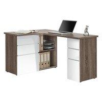 Rohový psací stůl BAKER  dub truffel/bílá 1