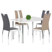 Jídelní židle BARBORA hnědo-bílá/chrom 2