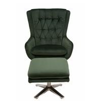 Relaxační křeslo s podnožkou CADEN tmavě zelená 2