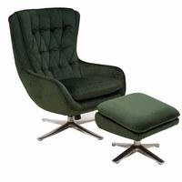 Relaxační křeslo s podnožkou CADEN tmavě zelená 3