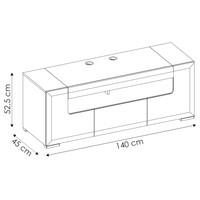 TV komoda CANTERO bílá vysoký lesk/beton, šířka 140 cm 5