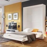 Výklopná posteľ CONCEPT PRO CP-01 biela matná, 140x200 cm, vertikálna 3