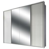 Šatníková skriňa s TV kútikom ENIMA biela/zrkadlo 1