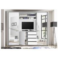 Šatníková skriňa s TV kútikom ENIMA biela/zrkadlo 3