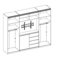 Šatníková skriňa s TV kútikom ENIMA biela/zrkadlo 4