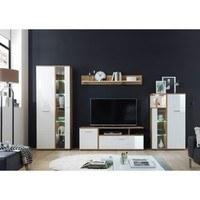 Obývacia stena EVER dub artisan/biela vysoký lesk 2