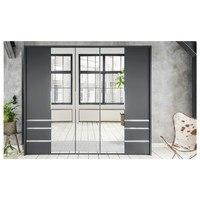 Šatní skříň se skládacími dveřmi EVERLY šedá/zrcadlo 4