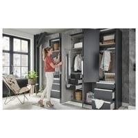 Šatní skříň se skládacími dveřmi EVERLY šedá/zrcadlo 5