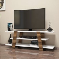 TV stolek  FLOWER ořech/bílá 2