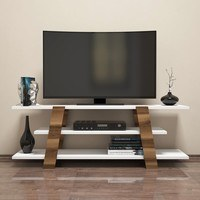TV stolek  FLOWER ořech/bílá 3