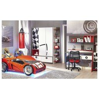 Písací stôl  FORSAGE červená/biela/čierna 2
