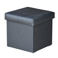 Taburet GABI černá textilní kůže 1