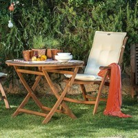 Kulatý skládací stolek HOLSTEIN eukalyptus 2