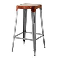 Barová židle IRON železo almond/hnědý kožený potah 1