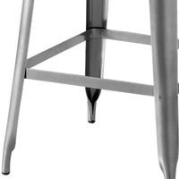 Barová židle IRON železo almond/hnědý kožený potah 5