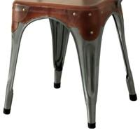 Jídelní židle IRON železo almond/hnědý kožený potah 3
