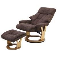 Relaxační křeslo s taburetem KASSEL hnědá 2