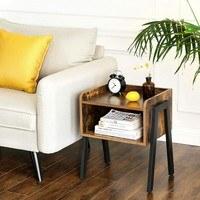 Přístavný stolek  LET54X černá/hnědá 2