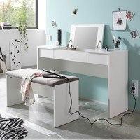 Toaletní stolek s lavicí LIPSTICK bílá/hnědobílá 2