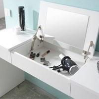 Toaletní stolek s lavicí LIPSTICK bílá/hnědobílá 3