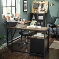 Rohový psací stůl LWD73X černá/hnědá 2