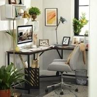 Rohový psací stůl LWD73X černá/hnědá 5