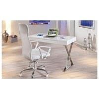 Psací stůl MEGGIE bílá/stříbrná 2