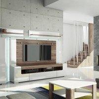 Nástěnný panel MILANO bílá vysoký lesk/dub sanremo 2