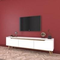 TV stolek  QUINN bílá/světlý ořech 2