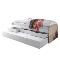 Posteľ s výsuvným lôžkom SENTIA dub sonoma/biela, 90x200 cm 1